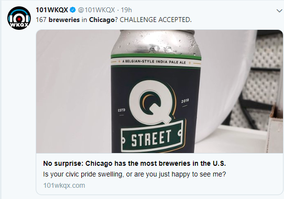 A tweet about how Chicago has the most breweries in the country