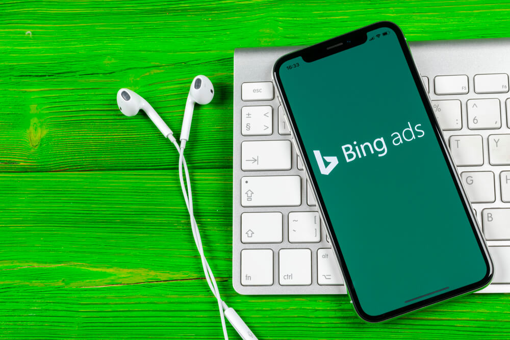 A smartphone with the Bing Ads app on the screen