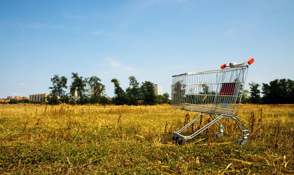 An empty shopping cart in a field