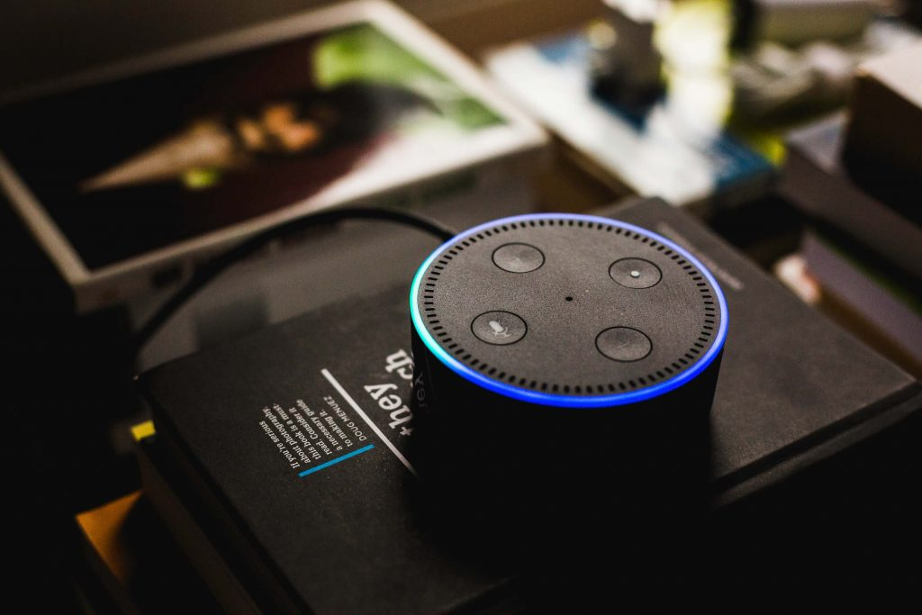 A side view of an Amazon Alexa