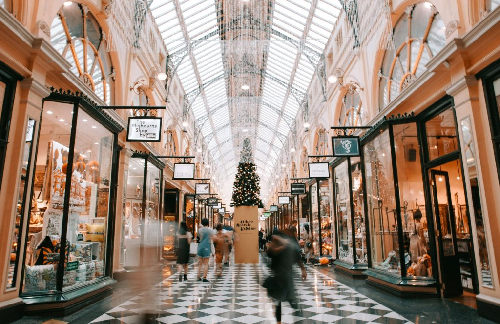 An ornate shopping mall interior with Christmas decorations