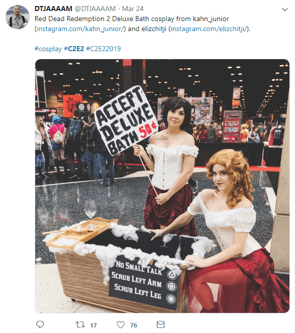 Two women in Red Dead Redemption 2 cosplay at comic con