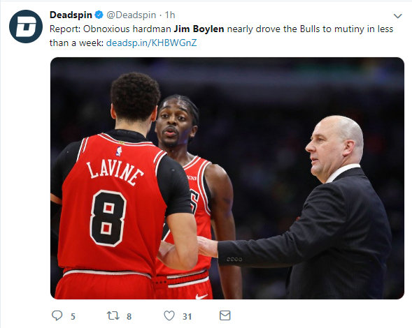 A tweet about how new Bulls head coach, Jim Boylen , isn't liked by his players