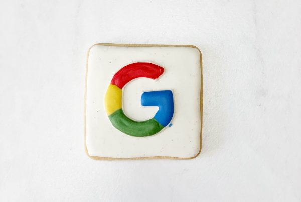 A cookie with the Google symbol on it