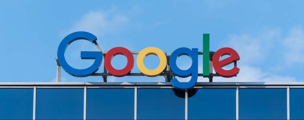 The Google logo above a building