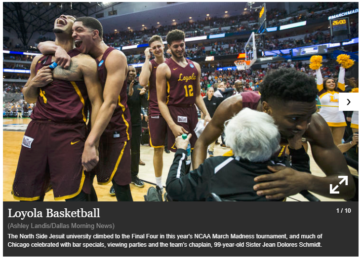 The Loyola Men's basketball team celebrating after advancing to the Final Four
