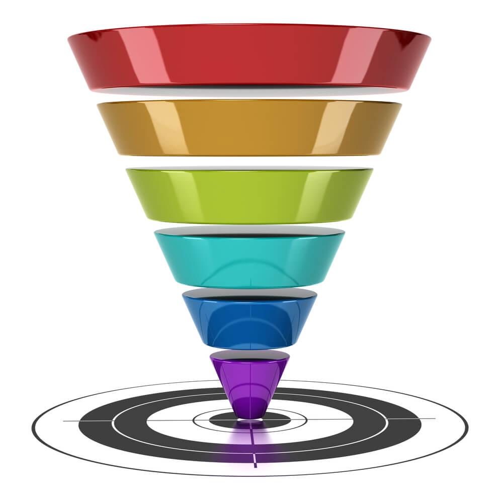 A graphic of a multi-colored funnel