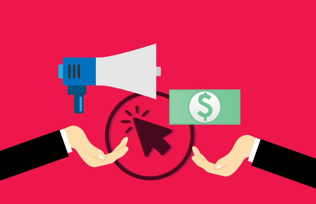 A graphic with a bullhorn, a mouse pointer, and a dollar bill