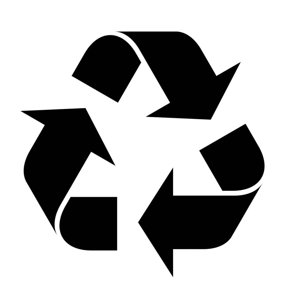 A black and white image of the recycling symbol