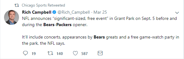 A tweet from Rich Campbell explaining the party going on in Grant Park before and during the Bears-Packers game