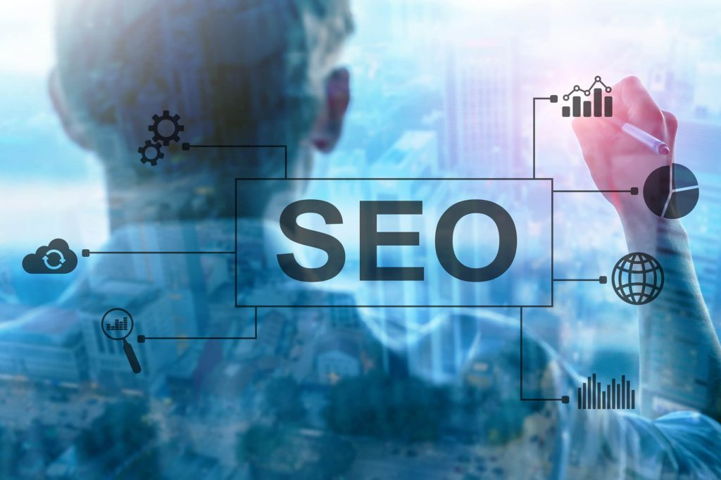 "A blue background image with the word ""SEO"" in the middle"