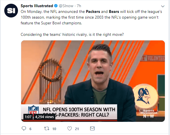 A tweet from Sports Illustrated explaining the Bears-Packers game
