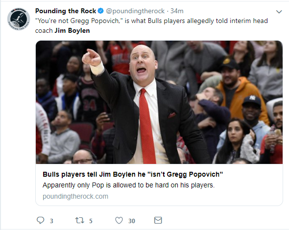 Another tweet about how new Bulls head coach, Jim Boylen , isn't liked by his players