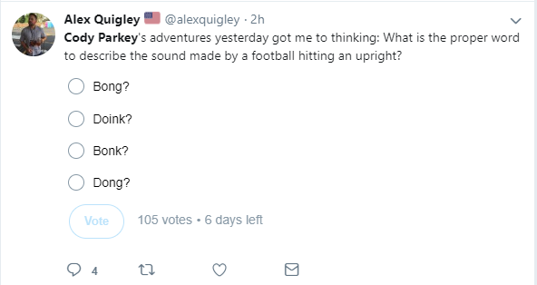 twitter post by alex quigley about cody parkey