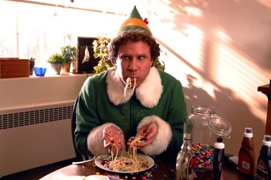 Buddy the Elf eating at table