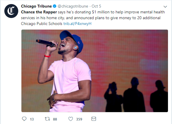 post of chance the rapper performing on stage