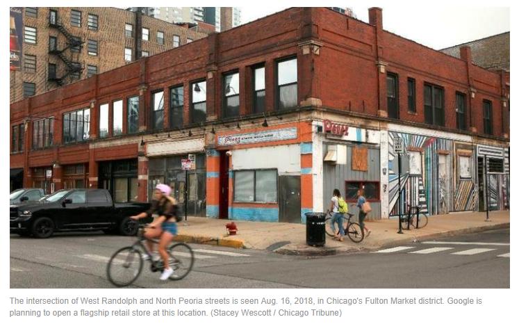 biker at the west randolf, chicago intersection